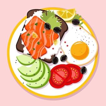 다른 색상 그림에서 아침 식사