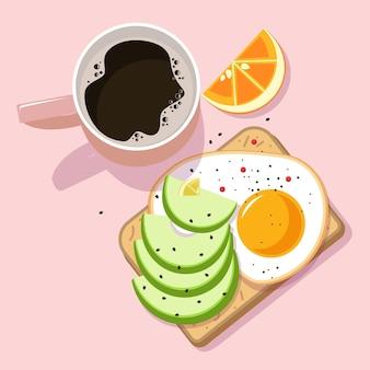 Завтрак в разных цветах иллюстрации