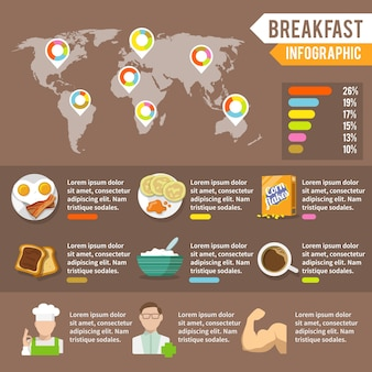 아침 식사 infographic 세트