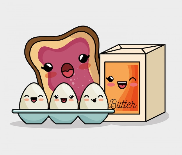 Breakfast kawaii eggs butter and bread jam