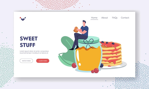 Breakfast landing page template. tiny male character sit on huge glass jar with honey eating fresh tasty pancakes. delicious homemade dessert with sweet syrup and berries. cartoon vector illustration