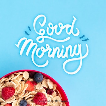 Breakfast lettering background with photo