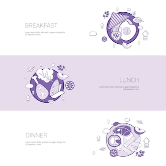 Breakfast, lunch and dinner meal concept template banner