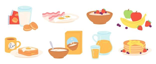 Еда на завтрак. утренний обед пить и еда здоровые фрукты, яйца и бекон, хлеб, каши, хлопья и молоко, блины. набор векторных обед. печенье, банка и стакан с соком, посуда для еды