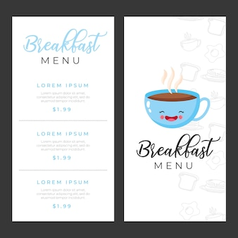 Breakfast menu templates with coffee cup cartoon illustration