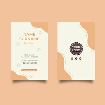 Breakfast menu vertical business card