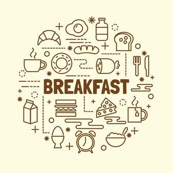 Breakfast minimal thin line icons set