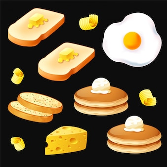 Breakfast object on black background vector