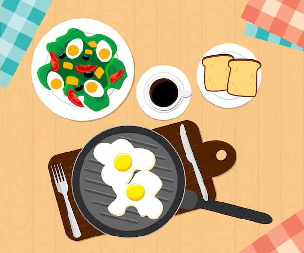 Завтрак из кофе, жареного яйца, ломтиков поджаренного хлеба. иллюстрация плоский дизайн. дизайн иллюстрации.