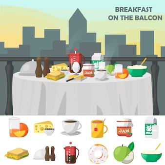 バルコニーのコンセプトでの朝食