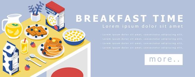 ダイニングテーブルのコンセプトデザインのバナーで朝食