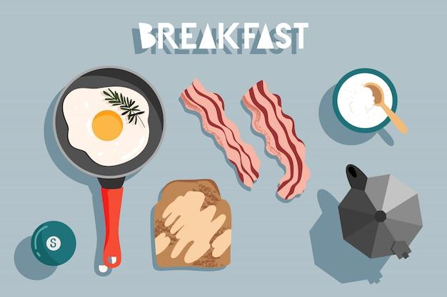 テーブルで朝食します。