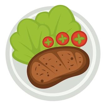 아침 식사 또는 저녁 식사 요리, 구운 고기가 있는 격리된 접시. 토마토 조각과 샐러드 잎. 레스토랑 및 식당 음식, 카페 또는 바에서 전통적인 식사. 등심의 준비. 평면 스타일의 벡터