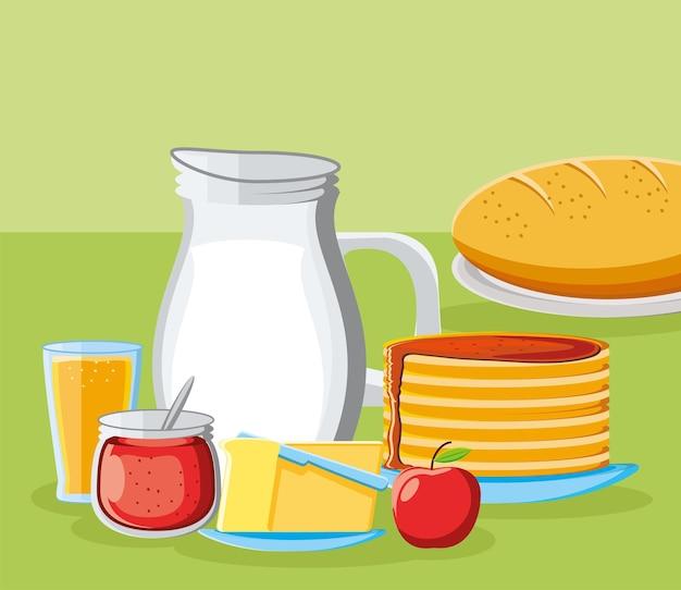 Breakfast pancake milk juice apple
