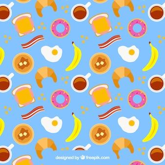 平らな最新デザインでの朝食パターン