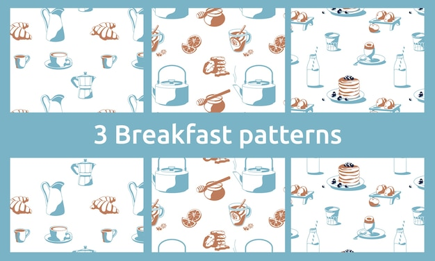 Breakfast patterns with coffee, tea, honey, croissants, pancakes, milk lemon, biscuits, cookies isolated white background
