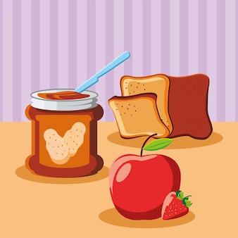 아침 땅콩 버터 빵과 사과