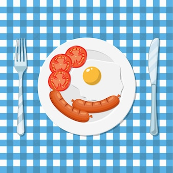 Breakfast, plate with fried egg and sausage
