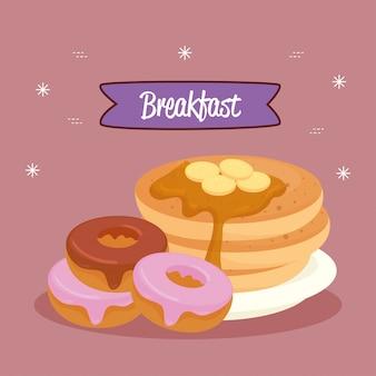 Плакат на завтрак, блины с пончиками