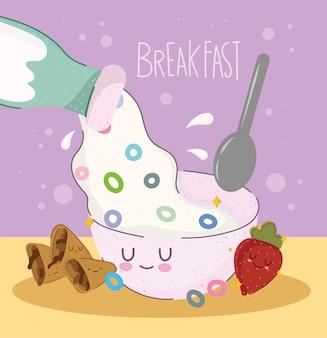 우유를 붓는 아침 식사