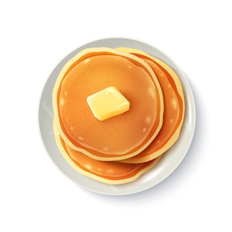 Breakfast realistic pancakes top view image