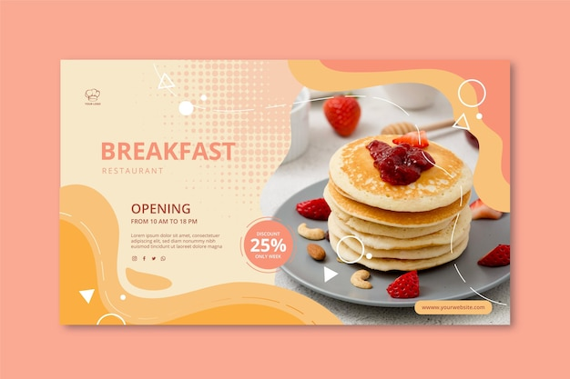 Breakfast restaurant banner template