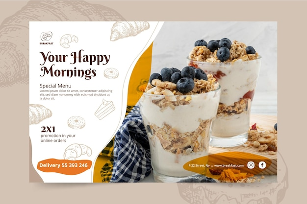 Breakfast restaurant banner