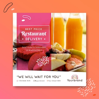 Breakfast restaurant flyer square template