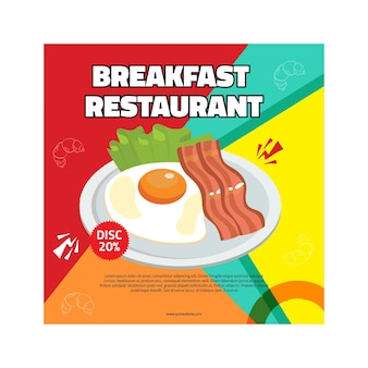 Breakfast restaurant flyer square
