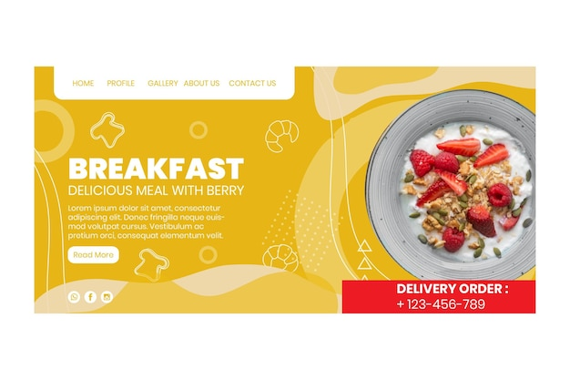 Pagina di destinazione del ristorante per la colazione Vettore gratuito