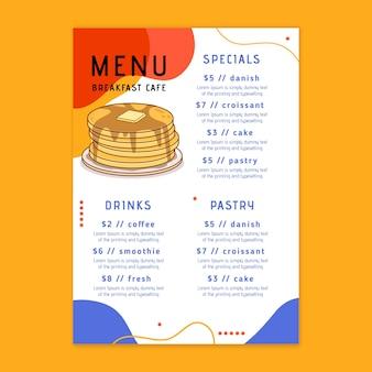 Шаблон меню ресторана для завтрака