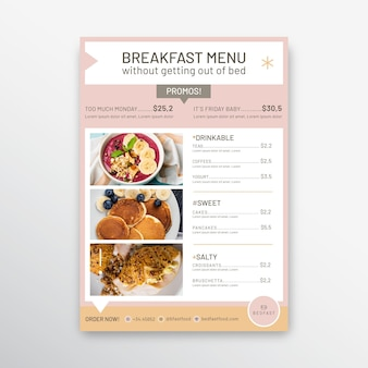 Breakfast restaurant menu template