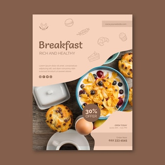 Шаблон плаката ресторана завтрака