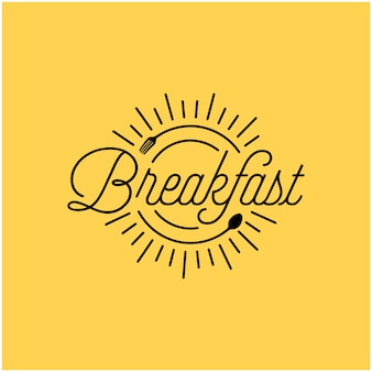 Breakfast restaurant with sunrise spoon fork hipster vintage retro typography logo design
