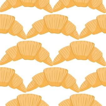 맛있는 크로와상 실루엣으로 아침 완벽 한 고립 된 패턴
