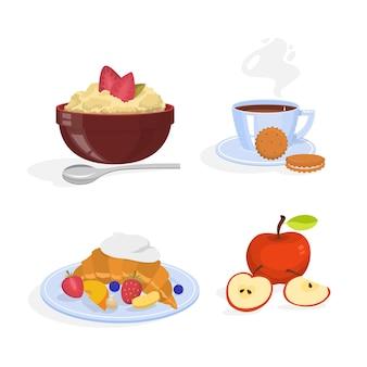 朝食セット。健康的な食事のコレクション。卵