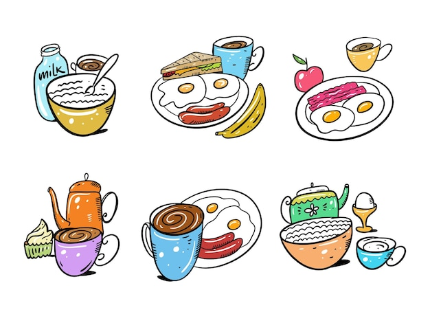 朝食セット手描き白い背景で隔離。漫画のスタイル。