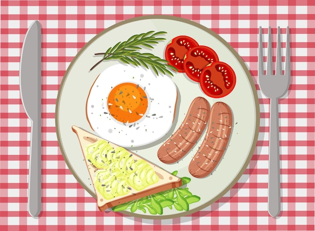 Breakfast set in a plate top view