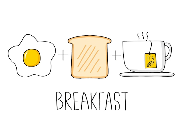Breakfast set vector illustration