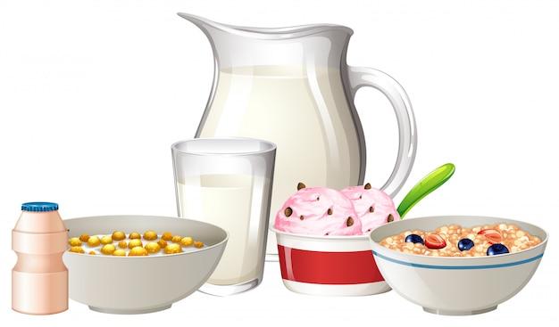 Breakfast set on white background