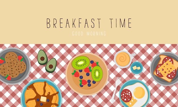 Breakfast set with fruits bacon and eggs parsley, toast with sausage and cheese. breakfast concept with fresh food, top view. meal time.  illustration