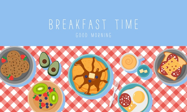 Breakfast set with fruits bacon and eggs, parsley, toast with sausage and cheese. breakfast concept with fresh food, top view. meal time.