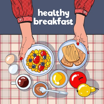 Вид сверху на стол для завтрака с тостами