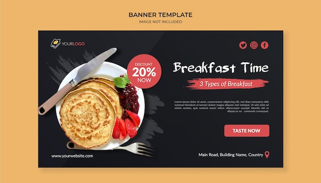 Breakfast time food banner template for restaurant and cafe