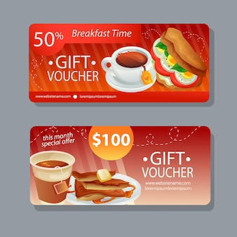 Breakfast time gift coupon promotional template
