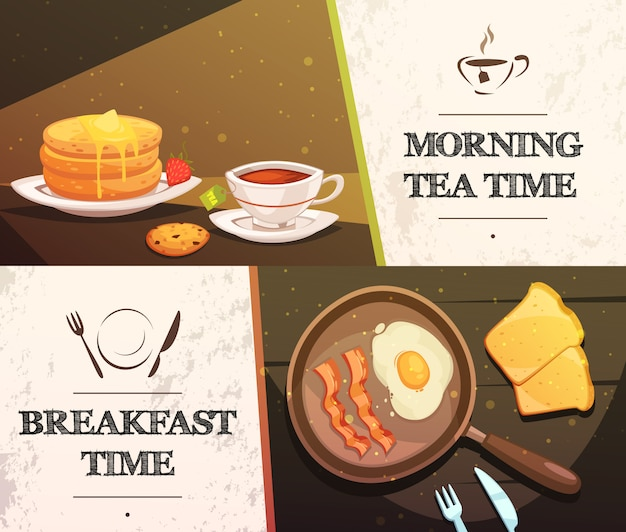 Breakfast time and morning tea two flat horizontal banners
