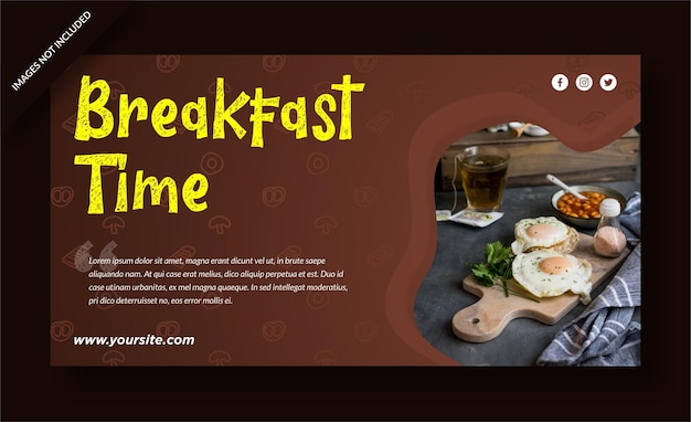 아침 식사 시간 레스토랑 배너 게시물 템플릿