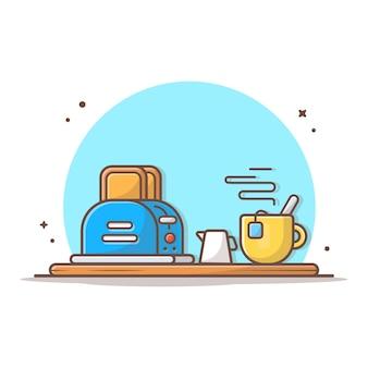 朝食時間ベクトルアイコンイラスト。熱いお茶とトーストしたパン。朝食メニュー、カフェ、レストランのデザイン Premiumベクター