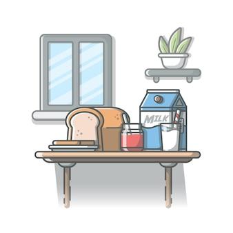パン、いちごジャム、牛乳のイラストの朝食の時間。白の孤立した背景