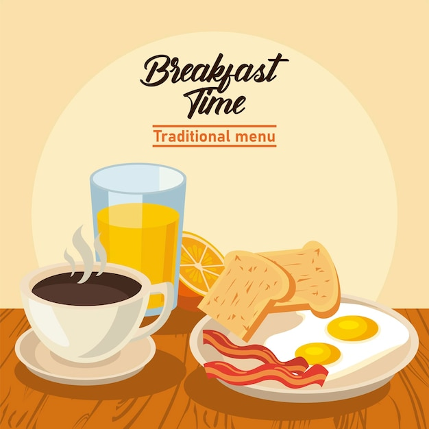 Breakfast time with eggs frieds and drinks